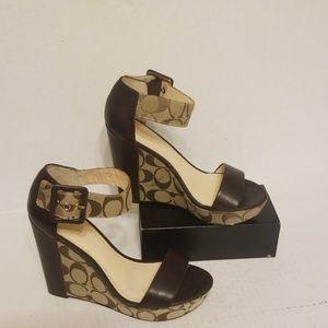 Coach wedge sandals women's shoes size 6 B